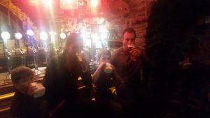 Each enjoying our favorite pint at Kyteler's Inn!