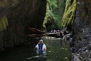 Water on hike in Oneonta Gorge chest high and freezing!