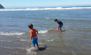 "Generous strangers gave boys boogie board - they were excited to ""surf!"""