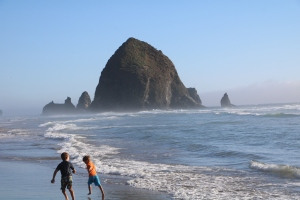 Running to check out the Haystack Rocks