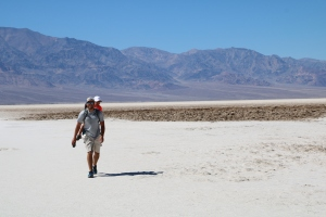 Aaron kindly carrying our Samuel across the salty terrain in the desert